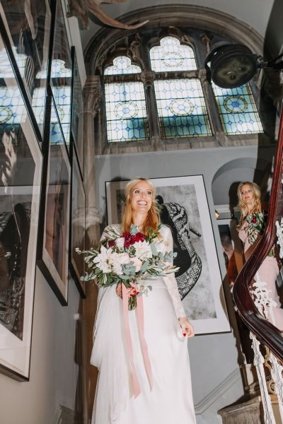 Bridal bouquet - dahlia, roses, foliage