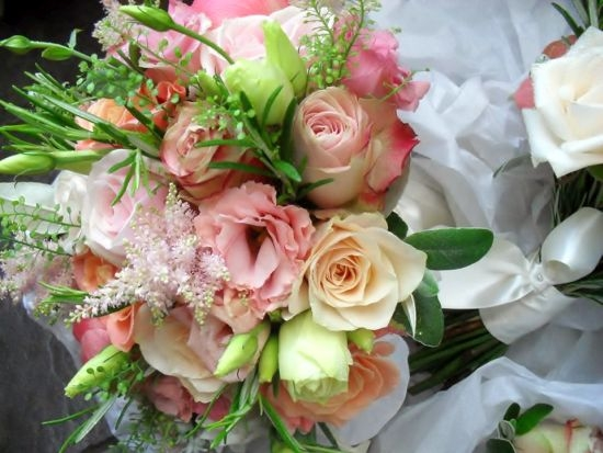 Bride's bouquet - pink and apricot roses