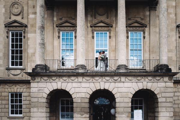 Bride & groom. Balcony of Holburne Museum, Bath