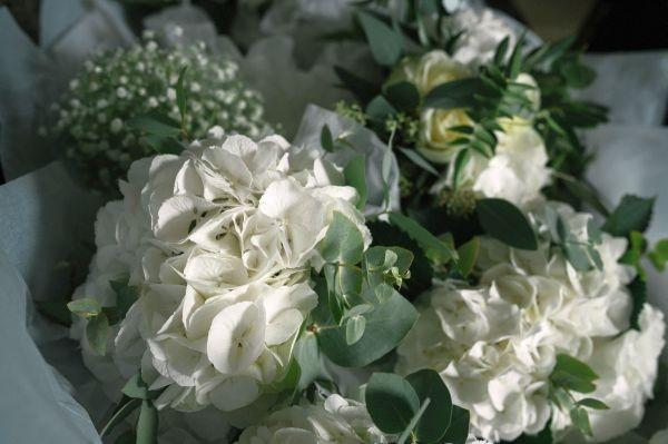 Bridesmaid's posy - white hydrangea
