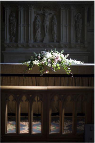 Church altar wedding flowers