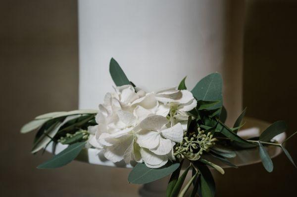 Wedding cake tier hydrangea flowers