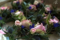 Pink rose thistle buttonhole