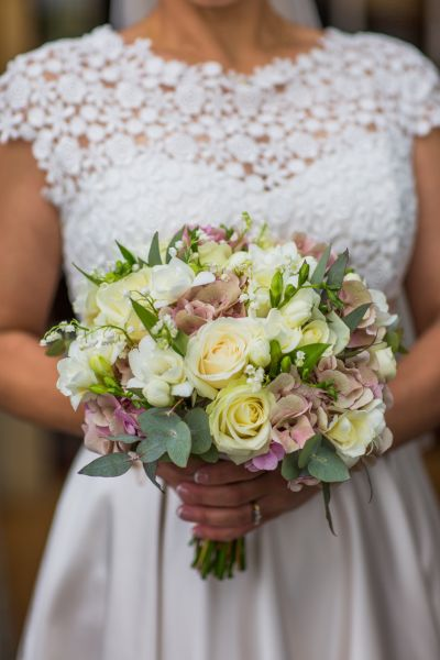Bridal bouquet - roses, hydrangea, lily of the valley - Courtney Louise image