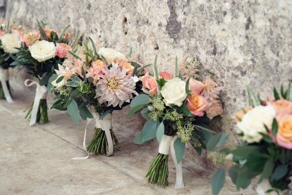 Bride & Bridesmaid bouquets - Cafe au Lait Dahlia & Roses