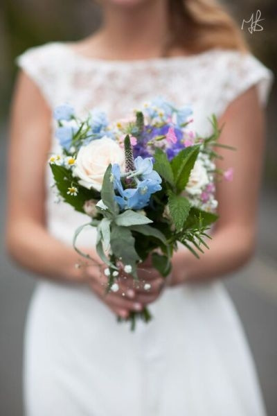 Bride's country meadow & herb bouquet