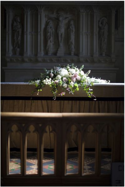 Church altar wedding flowers