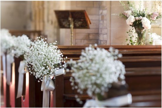 Church wedding - pew flowers