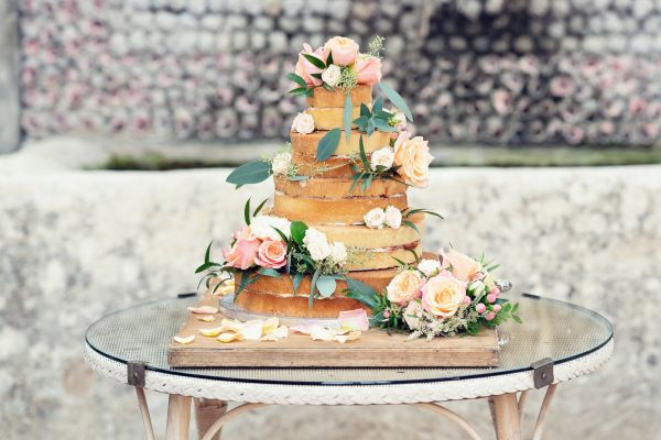 Wedding cake flowers - mango roses, eucalytpus - Kate Hopewell Smith image