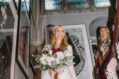 Bridal bouquet - dahlia, roses, foliage, ribbons