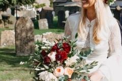 Bridal bouquet - roses, dahlia, foliage, ribbons