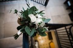 Bride's bouquet - white hydrangea, roses, foliage.