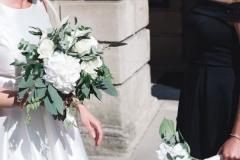 Bridal bouquet. White roses, hydrangea, eucalyptus