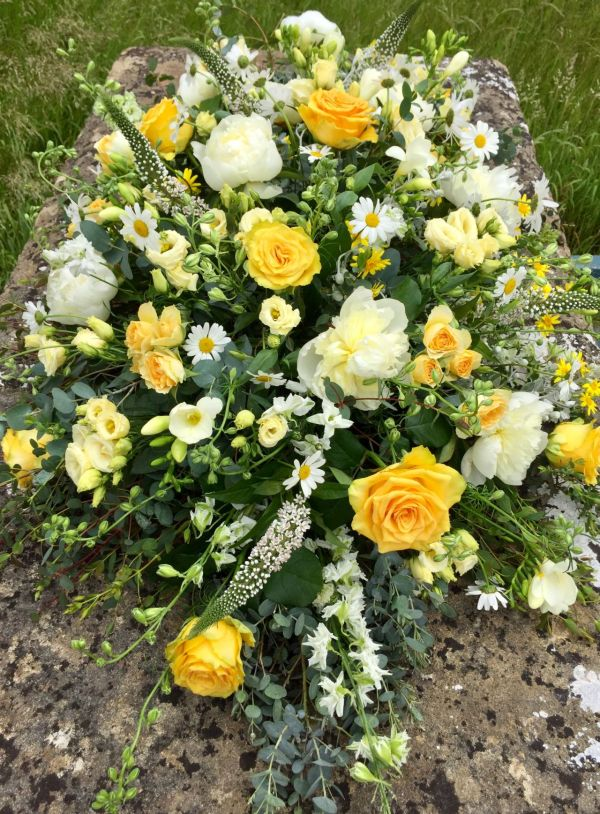 Funeral Coffin Spray - yellow & white mixed flowers
