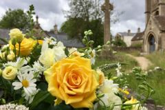 Funeral Coffin Spray - yellow roses, white peony & daisies