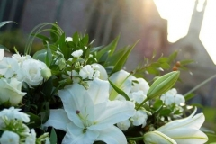 Funeral Coffin Spray - mixed flowers, white lilies, & roses