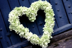 Funeral heart wreath - green hydrangea