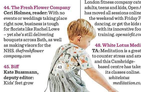 Stella Magazine article containing a caption about The Fresh Flower Company
